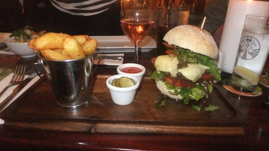 The Bank on College Green: Vary large gourmet burger! very nice!