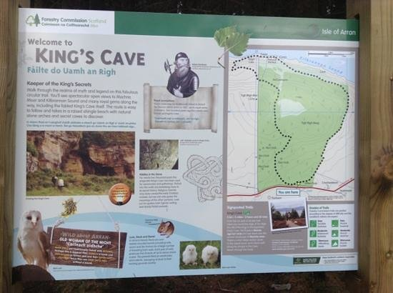 ‪‪Blackwaterfoot‬, UK: information board about the caves‬