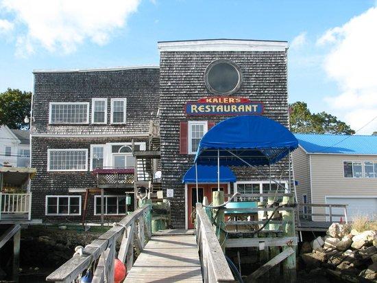 The dock at Kaler's Restaurant facing Boothbay Harbor, ME