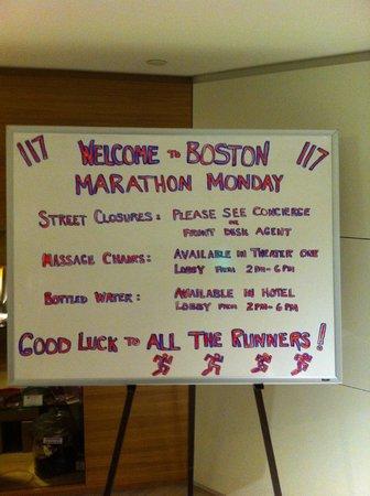 Revere Hotel Boston Common: Accueil pour les marathoniens