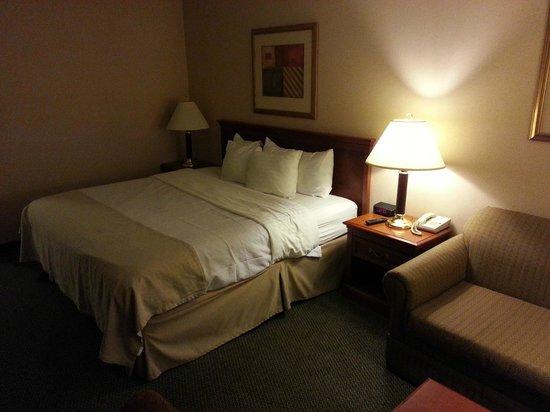 Holiday Inn Rutland-Killington Area: Bed (no overhead lighting, as all hotels)