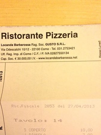 pizzeria - Picture of Locanda Barbarossa, Como - TripAdvisor