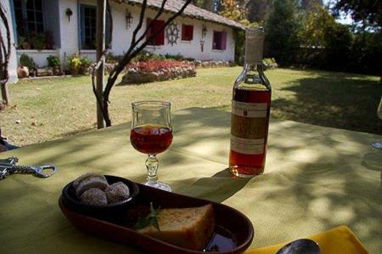 Tesoros de Chile Restaurant: Desert met een fantastische dessertwijn. Tafeltje in de tuin.