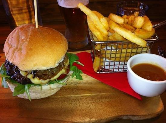 Burger Lounge: Wagyu & Truffle Burger, side of crunchy golden fries.