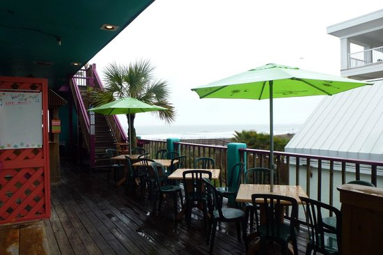 Coconut Joe's Beach Grill: entrance, and steps to rooftop dining area