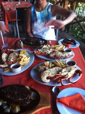 Kokobanana Bar & Grill: The local sirloin and lobster - Delicious
