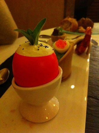 Restaurant Le Gambetta : déclinaison d'oeuf et gambas