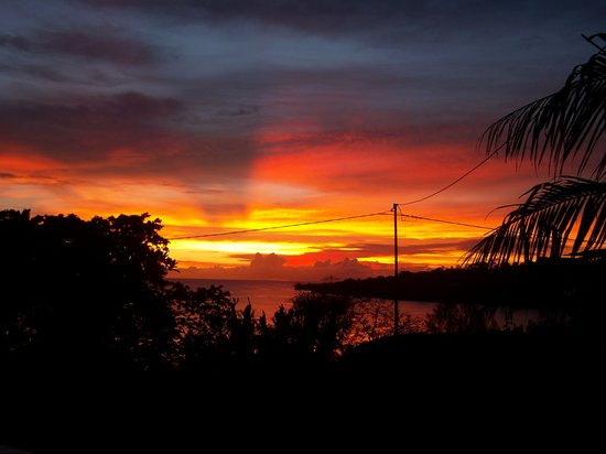 sunset vue du jardin de la maison bleue
