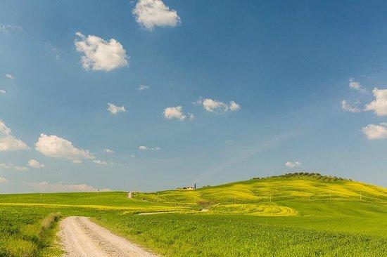 Poggio Tobruk met de toegangsweg in het voorjaar