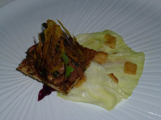 Reflets Par Pierre Gagnaire: Royal Pigeon, Spring Cabbage, friuts and Vegetables chutney.