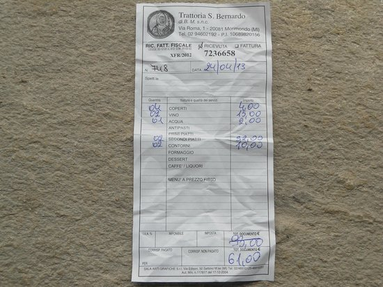 Trattoria San Bernardo: Il conto