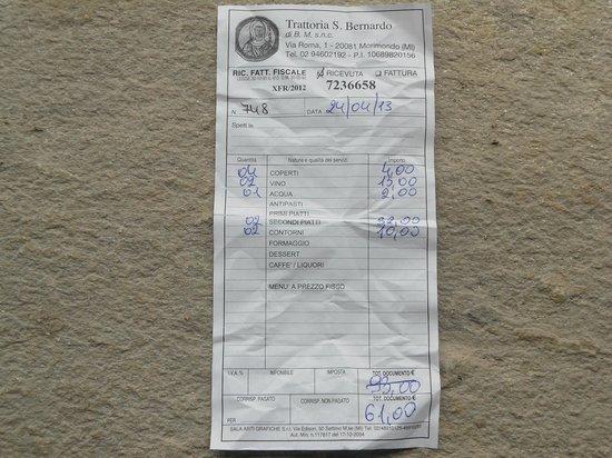 Morimondo, Włochy: Il conto