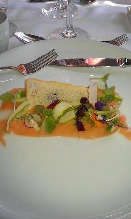 Sastaholm hotell och restaurang: Starter: Halibut and salmon