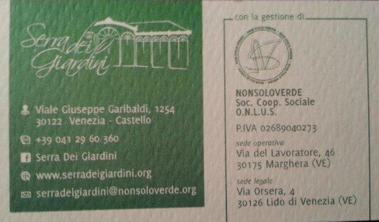 Serra dei Giardini: Business card
