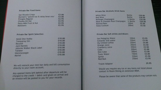 The Lowry Hotel: mini bar prices