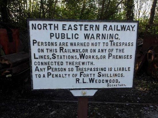 Middleton Railway: NER warning sign