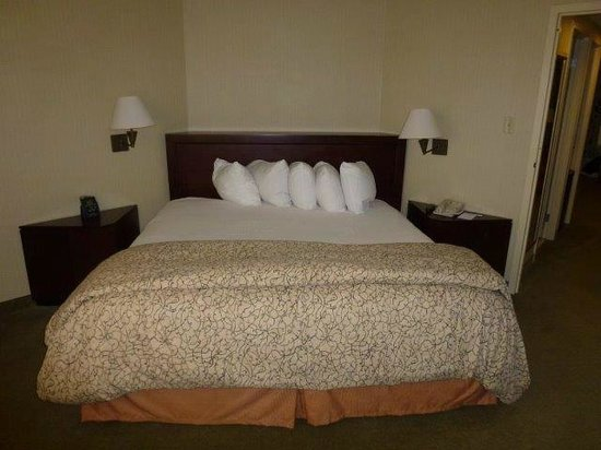 Embassy Suites by Hilton Secaucus - Meadowlands: bed with old fashioned light shades