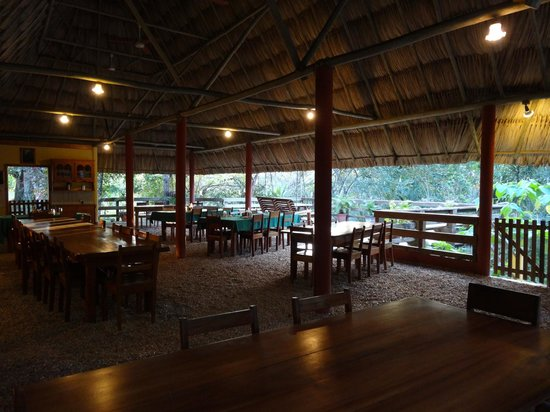 Crystal Paradise Resort: open-aired dining and self-serve bar area with view of observation deck
