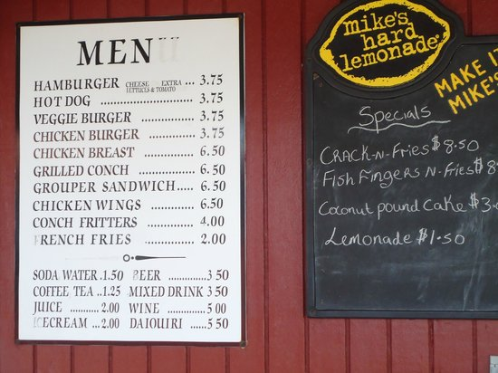 Paradise Cove Beach Resort : menu