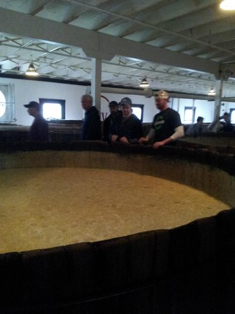 Maker's Mark: Fermentation done in vats made from wood.  Yes tour folks are encouraged to dip their finger & t