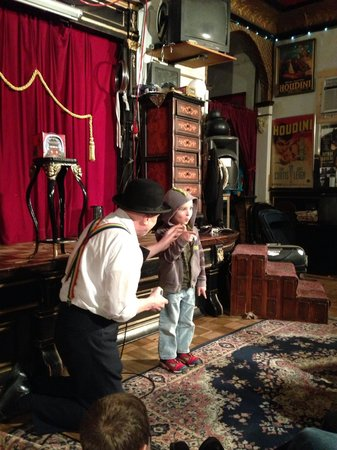 Houdini Museum: Caden with Bravo the great with Caden  on stage at Houdini  Museum