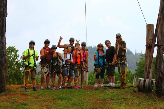 Northshore Zipline Co.: Our group with Han and Cloon