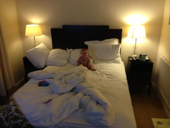 Meon Valley Marriott Hotel & Country Club: bedroom area of the junior suite (being modelled by my 9 month old).