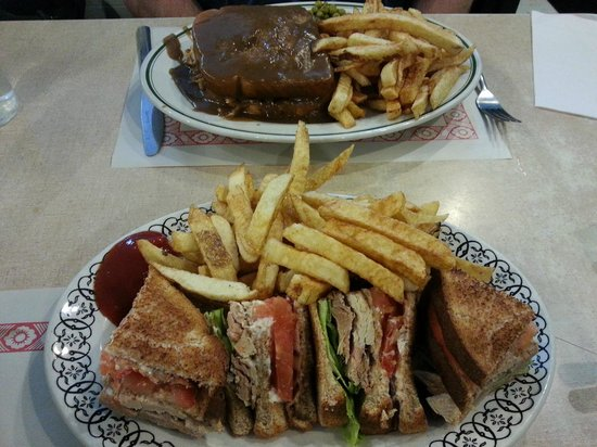 Mels Tearoom: Club sandwich and fries, Hot Turkey sandwich and fries