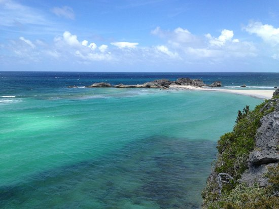 Downtown Providenciales: View standing on top oc cliff where bar was being built