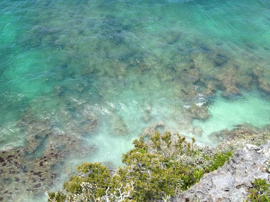 Downtown Providenciales: View looking straight down from cliff Middle Caicos