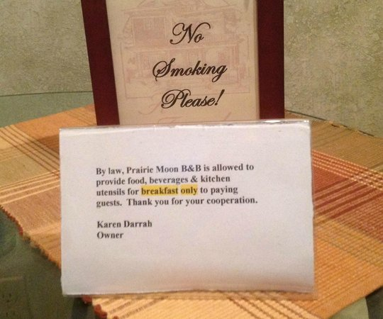 Prairie Moon Bed and Breakfast: Notes to guests