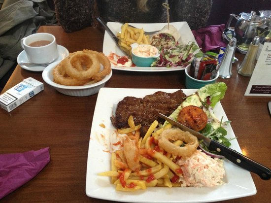The Village Rest: Steak And Wraps with Onion Rings