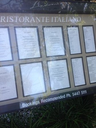 Lindoni's Ristorante: extensive menu inc wine list
