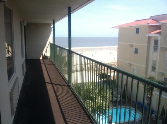 Desoto Beach Hotel: the view from the third floor outside our door.
