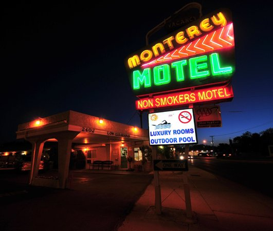 Monterey Non-Smokers Motel: The classic old Route 66 sign of the Monterey Motel near Old Town Albuquerque.