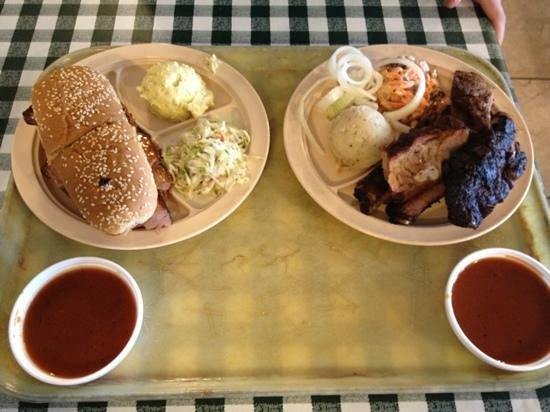 Mac's Pit Barbecue: poor boy sandwich & ribs.