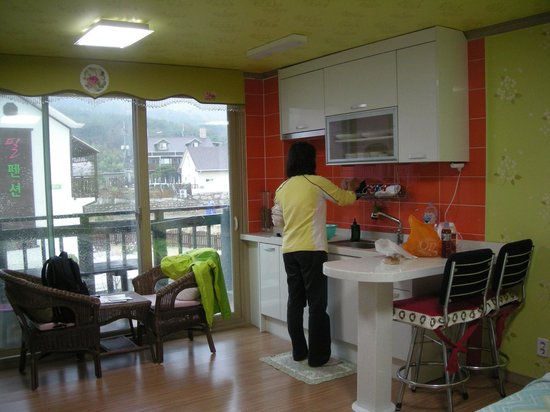 Bellus Rose Pension: Kitchen & dining counter, balcony at left