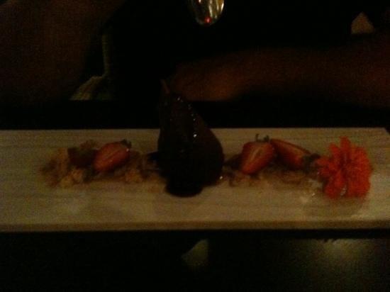 Treetops Restaurant: red wine pear dessert.