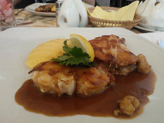 Lantino: Monkfish with a shrimp sauce and polenta