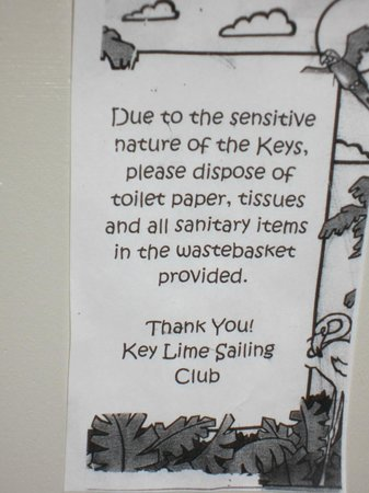 "Key Lime Sailing Club and Cottages: the ""hygiene"" sign"