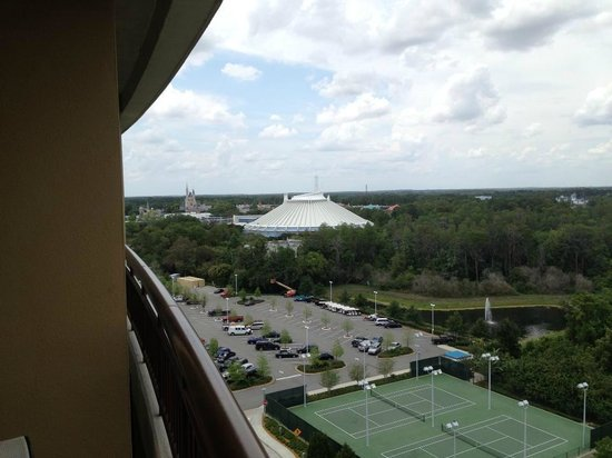 Bay Lake Tower at Disney's Contemporary Resort: (#8202 - 12th FL) Master balcony looking left (you can see Wishes Fireworks beautifully)