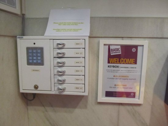 Basic Hotel Bergen Lock box inside door where you can pick up room key & Lock box inside door where you can pick up room key - Picture of ...