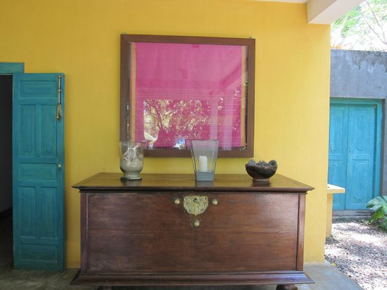 The Last House : Framed fabric on the dining room wall