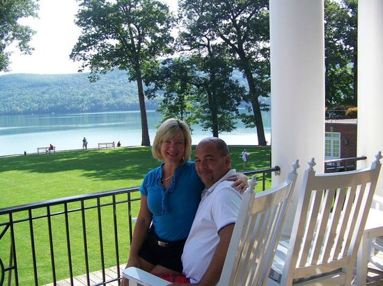 The Otesaga Resort Hotel: Sitting on the beautiful veranda overlooking the lake
