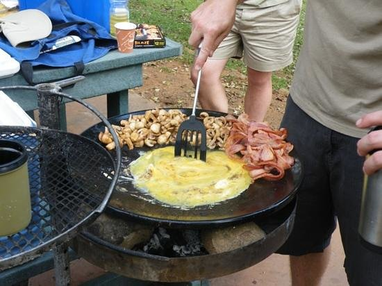 Endless Summer Tours: Breakfast in the bush cooked by Anthony and Rhys . so amazing bacon eggs mushrooms on toast. the