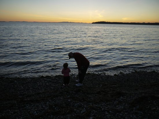 Sandcastle at Birch Bay: Watching the sunset at high tide.