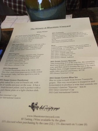 Bluestone Vineyard: wine list