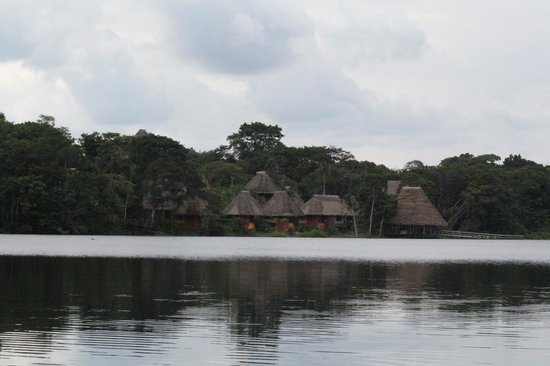 Napo Wildlife Center Ecolodge: View of the resort from a canoe