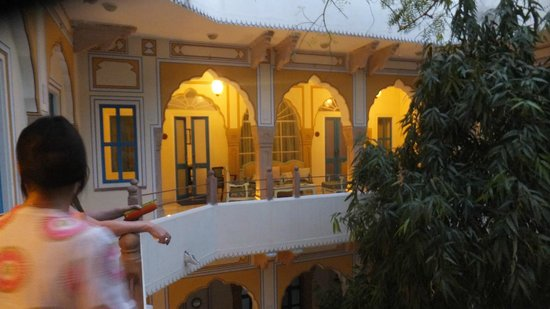 Diggi Palace: View across the courtyard to our rooms