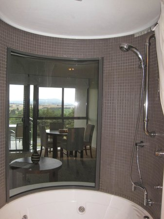 Balgownie Estate Vineyard Resort & Spa: The jacuzzi! With a glass window looking out.